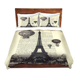 DiaNoche Designs - Duvet Cover Microfiber Queen - DiaNoche Designs by Madame Memento - Eifel Tower - DiaNoche Designs works with artists from around the world to bring unique, artistic products to decorate all aspects of your home.  Super lightweight and extremely soft Premium Microfiber Duvet Cover (only) in sizes Twin, Queen, King.  Shams NOT included.  This duvet is designed to wash upon arrival for maximum softness.   Each duvet starts by looming the fabric and cutting to the size ordered.  The Image is printed and your Duvet Cover is meticulously sewn together with ties in each corner and a hidden zip closure.  All in the USA!!  Poly microfiber top and underside.  Dye Sublimation printing permanently adheres the ink to the material for long life and durability.  Machine Washable cold with light detergent and dry on low.  Product may vary slightly from image.  Shams not included.