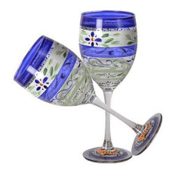 Blue Floral Wine Glasses   Set of 2 - This lovely hand painted wine glass is a blue floral design which works beautifully with Polish Pottery.  Perfect for the Holidays or any season.  Something to be handed down from generation to generation.  Proudly hand painted in the USA.