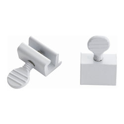 First Watch Security - Window Slide Stop - 2 Pack in White (Set of 10) - Locks window in closed or vented position. For use on sliding windows. Extruded aluminum with steel thumbscrew. White Finish
