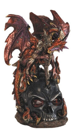 GSC - Red Armoured Dragon with Staff on Cracked Black Skull Fantasy Statue - This gorgeous Red Armoured Dragon with Staff on Cracked Black Skull Fantasy Statue has the finest details and highest quality you will find anywhere! Red Armoured Dragon with Staff on Cracked Black Skull Fantasy Statue is truly remarkable.