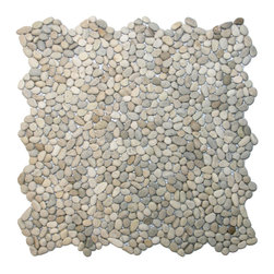 "CNK Tile - Mini Java Tan Pebble Tile - Each pebble is carefully selected and hand-sorted according to color, size and shape in order to ensure the highest quality pebble tile available.  The stones are attached to a sturdy mesh backing using non-toxic, environmentally safe glue.  Because of the unique pattern in which our tile is created they fit together seamlessly when installed so you can't tell where one tile ends and the next begins!     Usage:    Shower floor, bathroom floor, general flooring, backsplashes, swimming pools, patios, fireplaces and more.  Interior & exterior. Commercial & residential.     Details:    Sheet Backing: Mesh   Sheet Dimensions: 12"" x 12""   Pebble size: Approx 1/4"" to 1/2""   Thickness: Approx 1/4""   Finish: Tan Natural"