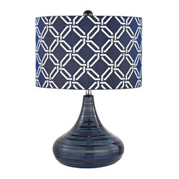 Joshua Marshal - One Light Navy Blue Blue With White Pattern Print, Silken Fabric Shade - One Light Navy Blue Blue With White Pattern Print, Silken Fabric Shade
