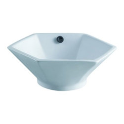 Kingston Brass - Metropolitan White China Vessel Bathroom Sink with Overflow Hole EV4106 - This particular vessel sink embodies the unique elegance of European design. Its unique hexagonal shape and hard edges are suitable for contemporary environments but can also comply with traditional elements as well. An overflow hole is mounted on the front interior of the basin.Manufacturer: Kingston BrassModel: EV4106UPC: 663370097478Product Name: White China Vessel Bathroom Sink with Overflow HoleCollection / Series: MetropolitanFinish: WhiteTheme: Contemporary / ModernMaterial: CeramicType: SinkFeatures: Tabletop mount