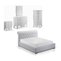 J&M Furniture - Chesterfield White Bedroom Set, King - Chesterfield White Bedroom Set consists of Bed, Nightstand, Dresser, Mirror and Chest. Delicious lacquer finish in white and curved stylish handles of the case goods make this bedroom set so unique. The bed has hydraulic lift for easy access to storage area.