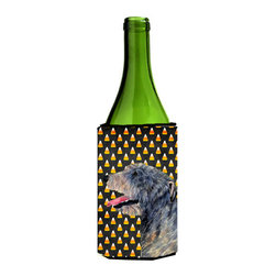 Caroline's Treasures - Irish Wolfhound Candy Corn Halloween Portrait Wine Bottle Koozie Hugger - Irish Wolfhound Candy Corn Halloween Portrait Wine Bottle Koozie Hugger Fits 750 ml. wine or other beverage bottles. Fits 24 oz. cans or pint bottles. Great collapsible koozie for large cans of beer, Energy Drinks or large Iced Tea beverages. Great to keep track of your beverage and add a bit of flair to a gathering. Wash the hugger in your washing machine. Design will not come off.