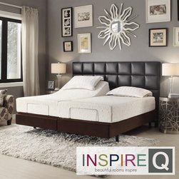 Inspire Q - Inspire Q Toddz Comfort Electric Adjustable Split King-size Bed Base with Wirele - Turn your bedroom in to a luxurious retreat with the Toddz Comfort adjustable bed base. Easy to operate with a wireless remote and backlighting, this bed also has a massage feature on the head and feet with three intensity levels.