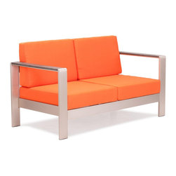 Zuo Modern - Cosmopolitan Sofa Cushions Orange - Metallic and natural, seductively combined to create the sexy Cosmopolitan sofa. The frame is forged from aluminum and the wood slats are teak. The cushions are UV and water resistant. Sit back, relax, and let mother nature take care of you.