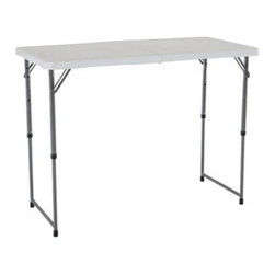 Lifetime 4 ft. Rectangle Light Commercial Fold-In-Half Adjustable Folding Table - The white granite Lifetime Loop 4 ft. Light Commercial Fold-In-Half Adjustable Table is a great chair for home office and outdoor use. This table is highly versatile with three adjustable height settings and an easy-storage fold-in half frame. Weather stain and UV resistant this is one table that holds up absolutely anywhere. This table exceeds industry standards for weight capacity. Measures 48L x 24W x 22-29-36H inches. About Lifetime ProductsOne of the largest manufacturers of blow-molded polyethylene folding tables and chairs and portable residential basketball equipment Lifetime Products also manufactures outdoor storage sheds utility trailers and lawn and garden items. Founded in 1972 by Barry Mower Lifetime Products operates out of Clearfield Utah and continues to apply innovation and cutting-edge technology in plastics and metals to create a family of affordable lifestyle products that feature superior strength and durability.