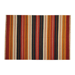 Hand Woven Rug 100% Wool 6'x8' Striped Durie Kilim Reversible Flat Weave SH14919 - Soumaks & Kilims are prominent Flat Woven Rugs.  Flat Woven Rugs are made by weaving wool onto a foundation of cotton warps on the loom.  The unique trait about these thin rugs is that they're reversible.  Pillows and Blankets can be made from Soumas & Kilims.