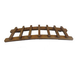 "Master Garden Products - Trellis Oak Wine Rack, Holds up to 7 Bottles, 36""L x 8""D x 4""H - Use these in the dining room or in the wine cellar, this gorgeous finished wood wine rack is eye-catching and inventive.  Unlike other similar products in the market, every one of our oak staves used in the display rack are cleaned by a sanding machine, hand polished, and crafted to the highest standards.  The oak wine trellis display is our creative solution to wine bottle storage. Showcase your favorite wine and glasses in this counter top display. Holds up to seven bottles."