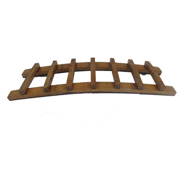 """Master Garden Products - Trellis Oak Wine Rack, Holds up to 7 Bottles, 36""""L x 8""""D x 4""""H - Use these in the dining room or in the wine cellar, this gorgeous finished wood wine rack is eye-catching and inventive.  Unlike other similar products in the market, every one of our oak staves used in the display rack are cleaned by a sanding machine, hand polished, and crafted to the highest standards.  The oak wine trellis display is our creative solution to wine bottle storage. Showcase your favorite wine and glasses in this counter top display. Holds up to seven bottles."""