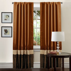 Lush Decor - Mia Brown/Rust Window Curtain, Set of Two - - Transform and brighten your room with this colorful faux silk window panel. The 3 colors blocks transition into each other with a series of 4 pleats giving the panel a clean and very finished look. There is a rod pocket for quick and easy installation.  - Size - 54X84  - Includes: 2 Window Panels  - Top Pocket - Rod Pocket  - Non-Weighted  - Additional Hardware Necessary - Rod  - Panel: 54x84  - Fabric Content:100% Polyester  - Care Instructions: Comforter/bed skirt/shams: dry clean * Pillows: spot clean  Lush Decor - C00960Q12