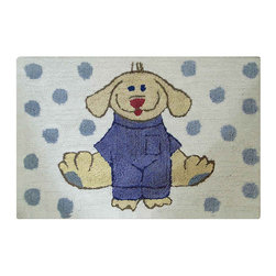 Jovi Home - Jovi Home Dress Up Pup Blue/ White 24 x 36 Bath Rug - An adorable 'dress up pup' print highlights this plush rug by Jovi Home. Constructed of 100-percent cotton, this machine washable rug will being cheer to any bathroom.