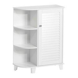 None - RiverRidge Ellsworth Cabinet with Side Shelves - Cabinet with Side Shelves feature a convenient single shutter door design with side shelves and a storage shelf enclosed within the cabinet. This cabinet offers convenient and stylish extra bathroom storage.