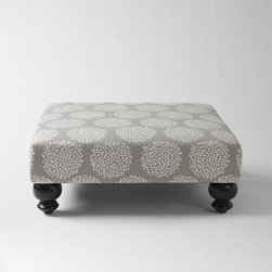 Essex Printed Ottoman, Platinum - The pattern, shape and size of this ottoman make it the perfect addition to a room. Add a tray and some accessories for the perfectly styled look!