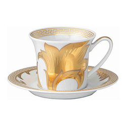 Versace - Versace Arabesque Gold Cappucino Espresso Cup - Versace Arabesque Gold Cappucino Espresso Cup    ***   Since the late 1970s the Versace brand has been synonymous with Italian luxury. For over 30 years their products have been known for uncompromising design as well as their sensual style and peerless craftsmanship. Many of our Versace Italian dinnerware sets are adorned with the famous medusa logo and offer a touch of Italian fashion and luxury to any meal. Shop our selection today to find a new porcelain dinner service that's sure to impress even the most persnickety guest.