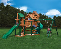 Gorilla Playsets - Gorilla Playsets Treasure Trove Wood Swing Set Multicolor - 01-1021 - Shop for Swings Slides and Gyms from Hayneedle.com! The Gorilla Playsets Treasure Trove Wood Swing Set certainly lives up to its name! This mammoth swing set has everything your little ones could desire from a backyard playground. It has a total of three covered play areas a tube slide a wave slide a clatter bridge and two sandboxes. In addition to all of those playtime treasures it features a rope ladder with wooden steps a picnic table and a bonus glider swing. And that's not even all this set offers! This swing set comes ready-to-build with pre-cut pre-stained and pre-drilled main beams. All the lumber features a protective finish making it resistant to rot decay and insects. This complete set is ready for your backyard!