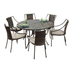 """Home Styles - Home Styles Stone Harbor 51"""" 7PC Dining Table Set - Home Styles - Patio Dining Sets - 5601368022 - Stone Harbor 7PC Dining Set includes Large Round Dining Table and Six Laguna Arm Chairs. The Stone Harbor Large Round Dining Table top is constructed of small square hand applied slate tiles with no two tops being exactly the same in a naturally occurring gray variation.  The table top also features a center opening that can be used for an umbrella or can be closed with the included black cap for a continuous surface.  The cabriole designed base is constructed of powder coated steel in a Black finish.  Adjustable nylon glides prevent damage to surfaces caused by movement and provide stability on uneven surface 51��� diameter 31��� high. Size: 51.25w 51.25d 29.5h. The Laguna Arm Chair features a two-tone Walnut Brown synthetic-weave seat and back over a powder coated steel frame in a Black finish with tie-attachment Taupe cushions.  The synthetic-weave is both moisture and weather resistant and requires very little maintenance.  Adjustable nylon glides prevent damage to surfaces caused by movement and provide stability on uneven surfaces.  Seat height measures 18���.  Arm height measures 22.75H. All Homes Styles outdoor casual dining chairs are sold two per pack and are designed to stack for easy storage. Chair Size:  23.25w 22.25d 36h"""