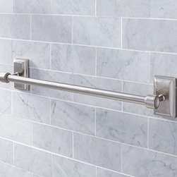 """Ella Hammered Metal Towel Bar, 24"""", Vintage Pewter finish - A rich rippled texture adds visual interest to our beautifully crafted Ella Collection. 18"""" or 24"""" long Expertly crafted of brass and stainless steel with a brushed nickel finish. Hand-applied finish. Sealed with a protective lacquer for moisture resistance. Mounting hardware is included. View our {{link path='pages/popups/fb-bath.html' class='popup' width='480' height='300'}}Furniture Brochure{{/link}}."""