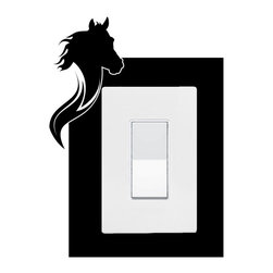 StickONmania - Lightswitch Horse #2 Sticker - A vinyl sticker decal to decorate a lightswitch.  Decorate your home with original vinyl decals made to order in our shop located in the USA. We only use the best equipment and materials to guarantee the everlasting quality of each vinyl sticker. Our original wall art design stickers are easy to apply on most flat surfaces, including slightly textured walls, windows, mirrors, or any smooth surface. Some wall decals may come in multiple pieces due to the size of the design, different sizes of most of our vinyl stickers are available, please message us for a quote. Interior wall decor stickers come with a MATTE finish that is easier to remove from painted surfaces but Exterior stickers for cars,  bathrooms and refrigerators come with a stickier GLOSSY finish that can also be used for exterior purposes. We DO NOT recommend using glossy finish stickers on walls. All of our Vinyl wall decals are removable but not re-positionable, simply peel and stick, no glue or chemicals needed. Our decals always come with instructions and if you order from Houzz we will always add a small thank you gift.