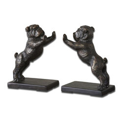 Uttermost - Uttermost Bulldogs Cast Iron Bookends, Set of 2 19643 - These adorable bookends are made of cast iron and finished in heavily, distressed golden bronze with a dark gray glaze.