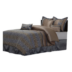 Westerly Full Bedding Set - King - The Westerly bed set features a unique coiled striped pattern with a brown and gray color scheme. This set includes all the pieces you need for a flawlessly decorated bed. Featuring a high quality Microfiber comforter, bed skirt, two pillow shams, and three different types of throw pillows.