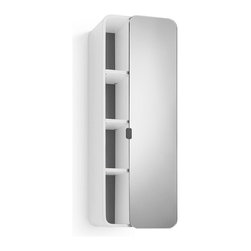 WS Bath Collections - 31.9 in. Bathroom Cabinet in White and Dark G - Contemporary design. Three shelves. Mirrored door. Designer high end quality. Warranty: One year. Made from plywood and stainless steel. Made in Italy. 12 in. W x 8.1 in. D x 31.9 in. H (30 lbs.). Spec Sheet