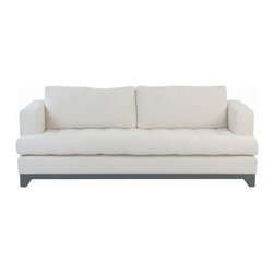 Kathy Kuo Home - Riom Modern Loft French Country Tufted Cushion Backed Ivory Sofa - This terrific sofa rides the line between modern and rustic, traditional style in the most beautiful way.  With a sleek silhouette but substantial, wide armrests, plenty of cozy cushioning and a tufted seat, you have a winning combination that will work in almost any décor - from an industrial loft to a antique country cottage.  Made to order in California; please allow 10 weeks lead time to ship.