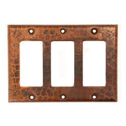 Premier Copper Products - Copper Switchplate Triple Ground Fault/Rocker - Dimensions: 6.5 in. x 4.5 in.