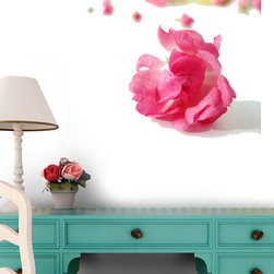 Wallmonkeys Wall Decals - Pink Rose Wall Decal - 18 Inches W x 14 Inches H, 60-Inch X 45-Inch - Easy to apply - simply peel and stick!