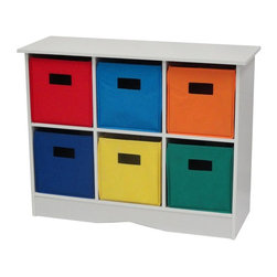 Sourcing Solutions, Inc. - White Cabinet w/6 Bins, White & Primary - RiverRidge®Kids White Cabinet w/6 Bins offers a versatile storage solution.  Storage cabinet/book case includes six storage bins and a top shelf for extra display/storage space.  Use in Kid's room, play area, family room, entryway or anywhere additional storage is needed. Simple to assemble.