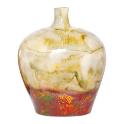"""Couleur - Fiesta Wide Glass Bottle - Handcrafted by artisan glass blowers the Fiesta Wide Glass Bottle is a wonderfully decorative and functional art glass accessory.  Because this is made of hand blown glass measurements are approximate - Each item will vary slightly in size and color.Specifications Dimensions: Are approximate because of the handmade nature of this product. (length x width x height) Overall: L 13"""" x W 9"""" x H 7"""" (approximately)Made in: Mexico (MEX)  Style: Room: Living Room, Dining Room, OfficeUse: Decoration Only - Home Accent, Table Top Decor, Wall Decor, Shelf DecorIndoor / Outdoor: IndoorCare: Wipe clean with a soft damp cloth."""