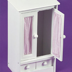 Badger Basket - Doll Armoire With Pink Gingham And 3 Hangers - Keep Dolly's clothes safe and tidy in this classy Doll Armoire. Fabric-accented doors open to a clothes rack for careful storage of your doll's beautiful wardrobe. Faux drawer front on the bottom contributes to the classy design. Pretty pink gingham complements the attractive white finish. Can be enjoyed by children from three years old and up. Fabric is poly/cotton and can be spot cleaned. Made of durable, painted wood composite board. Some assembly required (illustrated instructions included).