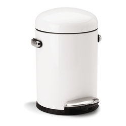 4.5 Litre Retro Step Can, White Steel