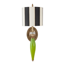 Harlequin Light - Harlequin Wallflower #3 Sconce - Exuberantly green and graphic.