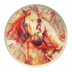 WL - Wall Clock with Thundering Stallion Horse Background Image - This gorgeous Wall Clock with Thundering Stallion Horse Background Image has the finest details and highest quality you will find anywhere! Wall Clock with Thundering Stallion Horse Background Image is truly remarkable.