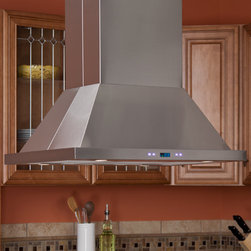 "36"" Arezzo Series Stainless Steel Island Range Hood - 900 CFM - Both high performing and visually stunning, the 36"" Arezzo Series Range Hood is the perfect choice for your kitchen exhaust system. It features four dimmable halogen lights as well as a six-speed internal blower."