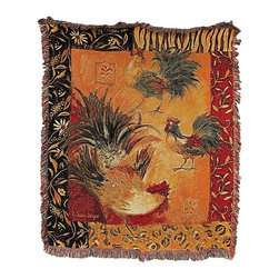 n/a - Woven Tapestry `Safari Roosters` Throw Blanket 50 in. X 60 in. - This beautiful woven tapestry blanket adds a colorful accent to your bed, chair, or couch. It is the perfect weight for snuggling up to read a good book or to watch TV. It measures 50 inches wide, 60 inches long, and features roosters in the center, surrounded by a wild print and floral border. The blanket is 100% cotton and recommended care instructions are to machine wash in cold water in a gentle cycle with mild detergent, and tumble dry. Made in the USA.
