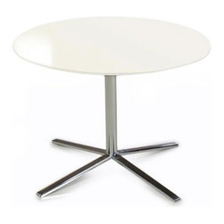 Modern  white round end table Bo - End Table Bo has simple contemporary form and consists of the glossy white lacquered MDF top and chromed stainless steel pedestal.