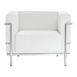 Modway - Modway EEI-565 Charles Grande Armchair in White - Urban life has always a quandary for designers. While the torrent of external stimuli surrounds, the designer is vested with the task of introducing calm to the scene. From out of the surging wave of progress, the most talented can fashion a forcefield of tranquility.