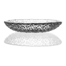 """Bomma - 6"""" Bubbles Collection Crystal Dessert Plate - Set of 2 - Set of 2 - The Bubbles 6 in. crystal dessert plate allows you to enjoy a playful design and tactile sensation while enjoying the taste of your favorite appetizer or dessert. Designer Rony Plesl's Bubbles collection combines the utility of crystal ware with a playful design approach to create a distinctive range of bowls and plates. Inspired by the structure of bubble wrap packaging material, the Bubbles design utilizes new and unique glass shaping technologies to create an unforgettable collection of glass work."""
