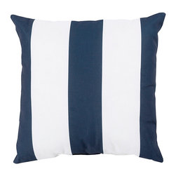 """Navy and Ivory Stripe Pillow - 20"""" x 20"""" - Bold, classic, and easy to take from a nautical sunroom to a transitional living space due to the universality of its design, the Navy and Ivory Stripe Pillow has crisp, broad bands of color that incorporate a larger-scale detail into your home's arrangements. It's also wonderful for creating an active yet composed look in a unisex space like a beach house guest room."""