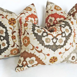 PillowThrowDecor - Spice Suzani Throw Pillow - Decorative suzani pillows with organic textures and spicy colors in burnt orange, espresso brown-almost black, brown, gray, gold maize on a tan almost taupe background. .Accessorize a living room or den with the NEW FALL 2013 COLLECTION.