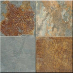 """California Gold Cleft Finish Slate Floor & Wall Tiles - 16"""" x 16"""" - 16"""" x 16"""" California Gold Cleft Finish Slate Floor and Wall Tile is a beautiful tile to install on a wall, floor or kitchen countertop in your home. The tile is frost resistant, so it ft.s a great option for outdoor installations. It is marginally skid resistant and recommended for standard residential applications. The rustic-style tile is made of natural slate stone, and it features a textured, low-sheen surface."""
