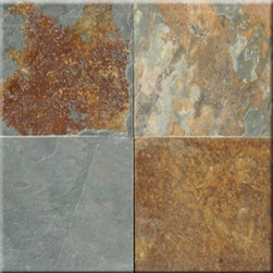 "California Gold Cleft Finish Slate Floor & Wall Tiles - 16"" x 16"" - 16"" x 16"" California Gold Cleft Finish Slate Floor and Wall Tile is a beautiful tile to install on a wall, floor or kitchen countertop in your home. The tile is frost resistant, so it ft.s a great option for outdoor installations. It is marginally skid resistant and recommended for standard residential applications. The rustic-style tile is made of natural slate stone, and it features a textured, low-sheen surface."