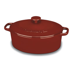 Cuisinart - Cuisinart Red Perpchefs 5.5-quart Oval CVD Classic Enameled Cast Iron Casserole - Create your favorite dish with the Cuisinart Oval CVD Casserole cookware,featuring a Red Perpchefs color and a 5.5-quart capacity. This cookware also offers an enamel-coated cast iron construction with a nonstick surface and includes a lid.