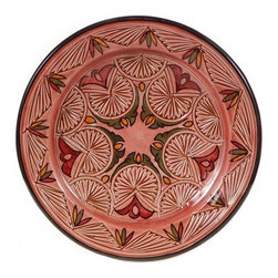 "Ceramic (Wood-fired) - Rose Carved Decorative Plate, 11"" - Rose Carved 11"" Decorative Plate"