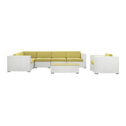 """LexMod - Corona 7 Piece Outdoor Patio Sectional Set in White Peridot - Corona 7 Piece Outdoor Patio Sectional Set in White Peridot - Stages of sensitivity flow naturally with Corona's robust seating experience. Find meaning among cliffs and caverns as you become the agent of influence in the white rattan base and all-weather peridot fabric cushion repast. Open yourself to splendorous insights as you impart positivity among friends and family. Set Includes: One - Corona Outdoor Wicker Patio Armchair One - Corona Outdoor Wicker Patio Coffee Table One - Corona Outdoor Wicker Patio Corner Section One - Corona Outdoor Wicker Patio Left End Section One - Corona Outdoor Wicker Patio Right End Section Two - Corona Outdoor Wicker Patio Armless Sections Synthetic Rattan Weave, Powder Coated Aluminum Frame, Water & UV Resistant, Machine Washable Cushion Covers, Easy To Clean Tempered Glass Top, Ships Pre-Assembled Coffee Table Dimensions: 43""""L x 24""""W x 12""""H Armless Section Dimensions: 29""""L x 35""""W x 25""""H Armchair Dimensions: 35""""L x 35""""W x 25""""H Left End Section Dimensions: 35""""L x 35""""W x 25""""H Right End Section Dimensions: 35""""L x 35""""W x 25""""H Corner Section Dimensions: 35""""L x 35""""W x 25""""H Seat Height: 12""""HBACKrest Height: 25""""H Armrest Dimensions: 6""""W x 25""""H Cushion Depth: 4""""H Overall Product Dimensions: 128""""L x 70""""W x 25""""H - Mid Century Modern Furniture."""