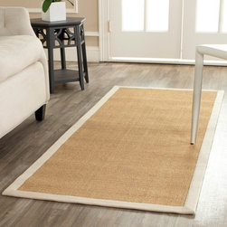 Safavieh - Safavieh Hand-woven Resorts Maize Beige/ Ivory Fine Sisal Rug - Grace your living room with this beige hand-woven rug. This rug features an ivory border and an extremely soft surface. Constructed out of organic sisal and equipped with natural latex backing,this piece is a great buy for the eco-conscious.