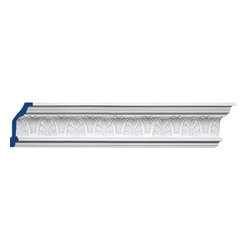 "Inviting Home - DeSoto Crown Moulding - DeSoto crown moulding 4-15/16""H x 2-9/16""P x 5-9/16""F x 7'10""L 4 piece minimum order required crown molding specifications: - outstanding quality crown molding made from high density polyurethane: environmentally friendly material is hypoallergenic and fully recyclable no CFC no PVC no formaldehyde; - front surface of this molding has extra durable and smooth surface; - crown molding is pre-primed with water-based white paint; - lightweight durable and easy to install using common woodworking tools; - metal dies were used for consistent quality and perfect part to part match for hassle free installation; - this crown molding has sharp deep and highly defined design; - matching flexible molding available; - crown molding can be finished with any quality paints; Polyurethane is a high density material--it's extremely lightweight and easy to install (and comes primed and ready to paint). It is a green material meaning its CFC and formaldehyde free. It is also moisture resistant--so it won't shrink flex or mold. What's also great about Polyurethane is that it's completely customizable and can be treated as wood (you can saw it nail it screw it and sand it). In addition our polyurethane material comes primed and ready to paint. There is a four piece minimum requirement for this molding purchase."